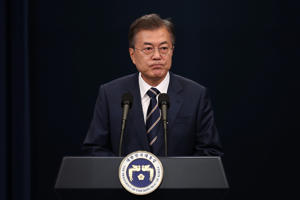South Korean President Moon Jae-in attends the press conference at the presidential blue house on May 27, 2018 in Seoul, South Korea. South Korean President Moon Jae-in and North Korean leader, Kim Jong-un, held a surprise second summit on Saturday, after U.S. President Donald Trump said the U.S.-NK summit could potentially be back on following a letter to Kim Jong-un on Thursday that the summit in Singapore will be cancelled.