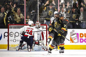 LAS VEGAS, NV - MAY 28:  Ryan Reaves #75 of the Vegas Golden Knights celebrates his third-period goal against the Washington Capitals in Game One of the 2018 NHL Stanley Cup Final at T-Mobile Arena on May 28, 2018 in Las Vegas, Nevada.