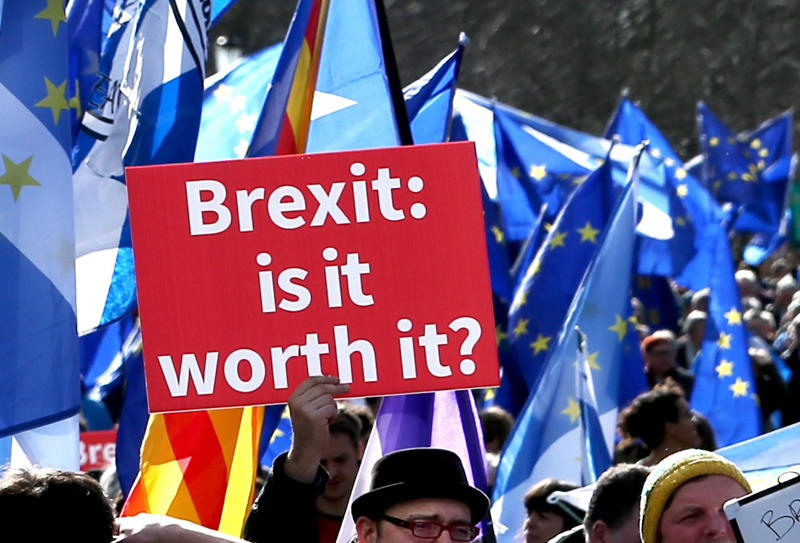 Demonstrators at a Brexit protest march in Edinburgh, which is demanding a final vote on the Brexit deal.