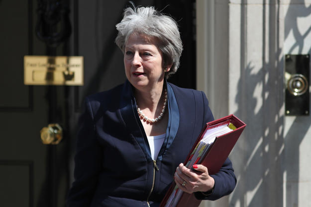 Britain's Prime Minister Theresa May leaves 10 Downing Street