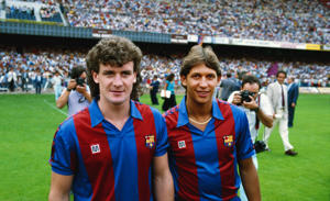 Mark Hughes and Gary Lineker pictured at the Nou Camp stadium in 1986 in Barcelona, Spain.