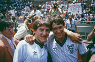 England players Peter Beardsley (left) and Gary Lineker after their team beat Paraguay 3-0 in a Round of 16 match during the World Cup competition at the Estadio Azteca, Mexico City, 18th June 1986. Lineker scored the first and third goals and Beardsley the second. (