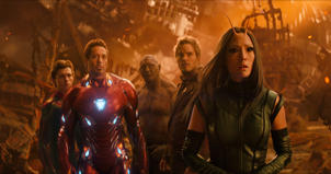 "FILE - This file image released by Marvel Studios shows, from left, Tom Holland, Robert Downey Jr., Dave Bautista, Chris Pratt and Pom Klementieff in a scene from ""Avengers: Infinity War."" In its second weekend in theaters, ""Avengers: Infinity War"" continues to dominate in North America.  (Marvel Studios via AP, File)"