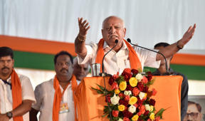 BENGALURU, INDIA - JANUARY 7: Karnataka BJP State Unit President BS Yeddyurappa during Parivartana rally, on January 7, 2018 in Bengaluru, India. Adityanath accused the Congress of using Karnataka as an ATM to fund its activities while stalling development in the state. (Photo by Arijit Sen/Hindustan Times via Getty Images)