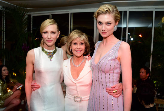 Slide 1 of 156: Cate Blanchett, Jane Fonda, and 2018 Trophee Chopard laureate Elizabeth Debicki attend the Chopard event during the Cannes Film Festival on Monday.