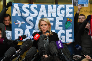 Jennifer Robinson, a lawyer representing Julian Assange, talks outside Westminster Magistrates Court, as the court has ruled that an arrest warrant against Assange is still valid, even though an investigation against him by the Swedish authorities has ended.