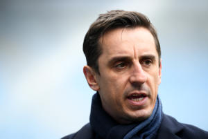 Sky Sports pundit Gary Neville looks on prior to the Premier League match between Manchester City and Chelsea at Etihad Stadium