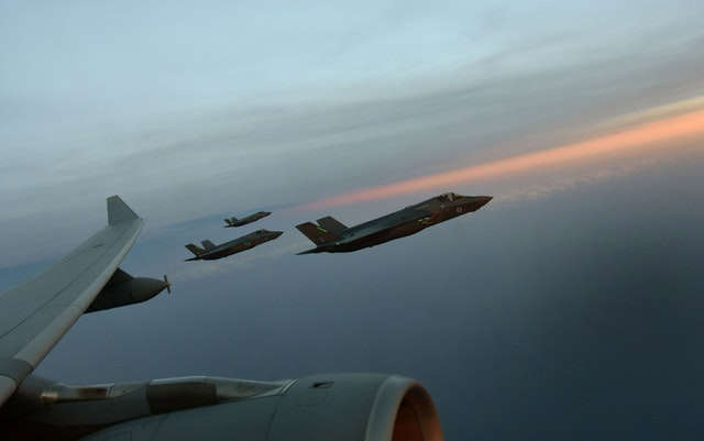 F-35B Lightning jets during a refuelling exercise with an RAF Voyager over the skies of Charleston on the east coast of the US