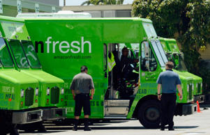 INGLEWOOD, CA - JUNE 27:  An Amazon Fresh truck arrives at a warehouse on June 27, 2013 in Inglewood, California. Amazon began groceries and fresh produce delivery on a trial basis to select Los Angeles neighborhoods free of charge for Amazon Prime members. AmazonFresh lets you order groceries and have them delivered on the same day.