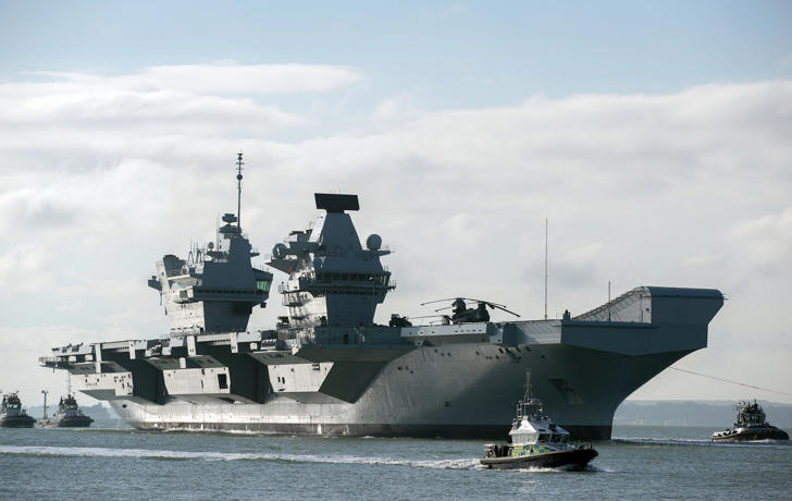 The HMS Queen Elizabeth returns to Portsmouth Harbour after sea trials.