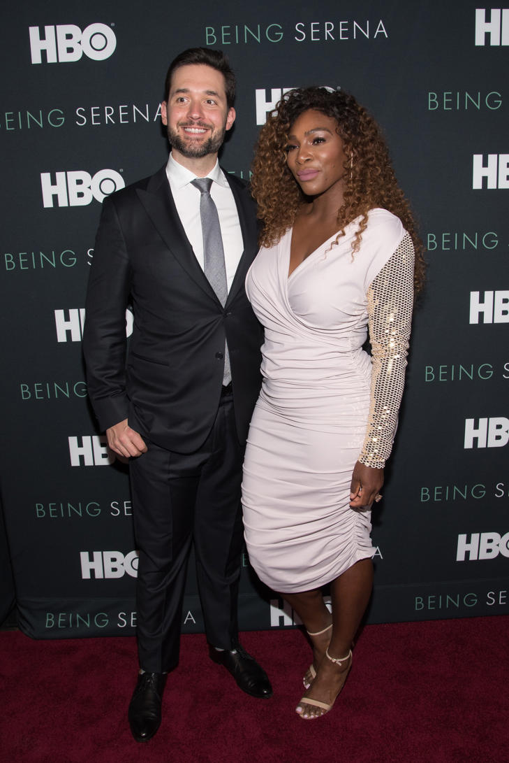 Serena Williams (R) and husband Alexis Ohanian attend the 'Being Serena' New York Premiere at Time Warner Center on April 25, 2018 in New York City.
