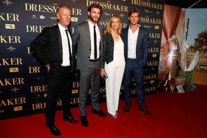 "Liam Hemsworth, Chris Hemsworth posing for the camera: Craig Hemsworth, Liam Hemsworth, Leonie Hemsworth and Chris Hemsworth arrive at the Australian premiere of ""The Dressmaker"" in Melbourne on Oct. 18, 2015."