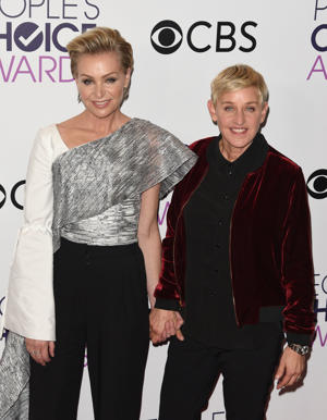 LOS ANGELES, CA - JANUARY 18:  Ellen DeGeneres, Portia de Rossi poses at the People's Choice Awards 2017 at Microsoft Theater on January 18, 2017 in Los Angeles, California.  (Photo by C Flanigan/Getty Images)