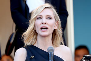 Jury head Cate Blanchett with other filmmakers reads a statement on the steps of the red carpet in protest of the lack of female filmmakers honored throughout the history of the festival at the screening of 'Girls Of The Sun (Les Filles Du Soleil)' during the 71st annual Cannes Film Festival at the Palais des Festivals on May 12, 2018 in Cannes.
