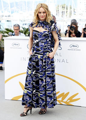 Vanessa Paradis: The French actress stunned in a printed Chanel dress and capelet from the Resort 2019 collection at the Knife + Heart photocall on Friday, May 18.