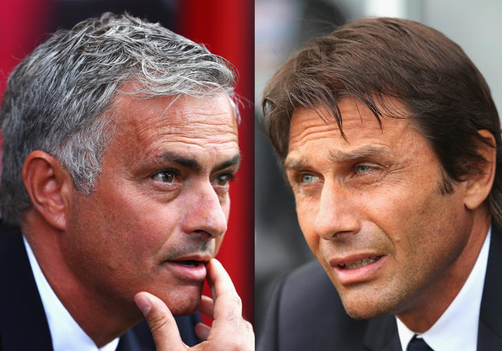 FILE PHOTO - (EDITORS NOTE: COMPOSITE OF TWO IMAGES - Image numbers (L) 589474814 and 602356360) In this composite image a comparision has been made between Manager of Manchester United and ex-Chelsea manager, , Jose Mourinho and Antonio Conte manager of Chelsea.   Chelsea and Manchester United meet in the Premier League on October 23, 2016 at Stamford Bridge,London.     ***LEFT IMAGE*** BOURNEMOUTH, ENGLAND - AUGUST 14: Manager of Manchester United Jose Mourinho looks on during the Premier League match between AFC Bournemouth and Manchester United at Vitality Stadium on August 14, 2016 in Bournemouth, England. (Photo by Michael Steele/Getty Images) ***RIGHT IMAGE*** SWANSEA, WALES - SEPTEMBER 11: Antonio Conte manager of Chelsea looks on prior to the Premier League match between Swansea City and Chelsea at Liberty Stadium on September 11, 2016 in Swansea, Wales. (Photo by Alex Livesey/Getty Images)