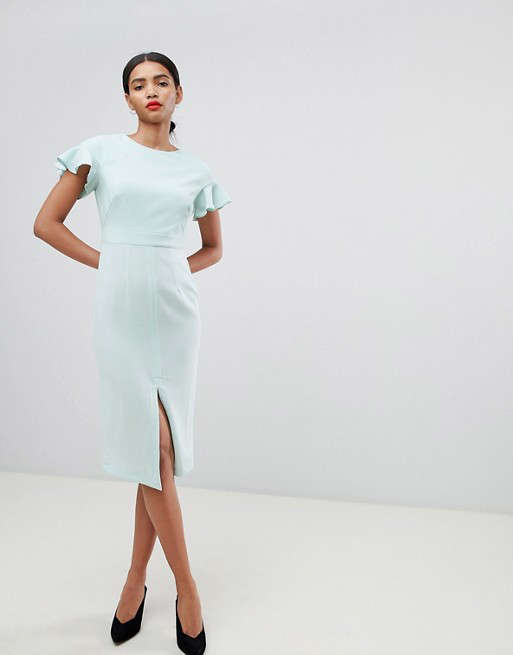97140599291c Slide 3 of 25: Buy It! Midi Wiggle Dress With Fluted Sleeve, $56