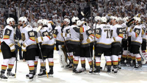 a group of people around each other: Is Vegas good enough to win the Stanley Cup?