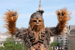 A person wearing a costume of the character Chewbacca poses for photographers at the photo call of the film 'Solo: A Star Wars Story' in London, Friday, May 18, 2018. (Photo by Joel C Ryan/Invision/AP)