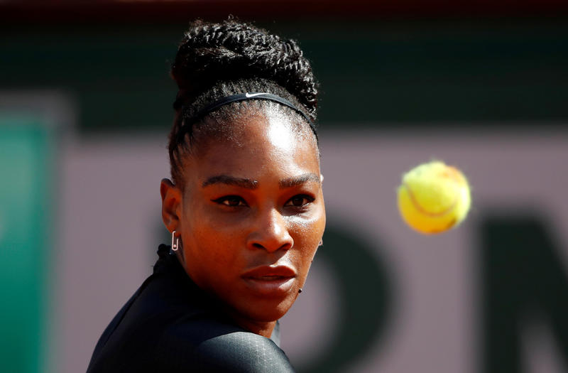 Serena Williams of the U.S in action during her first round match against Czech Republic's Kristyna Pliskova