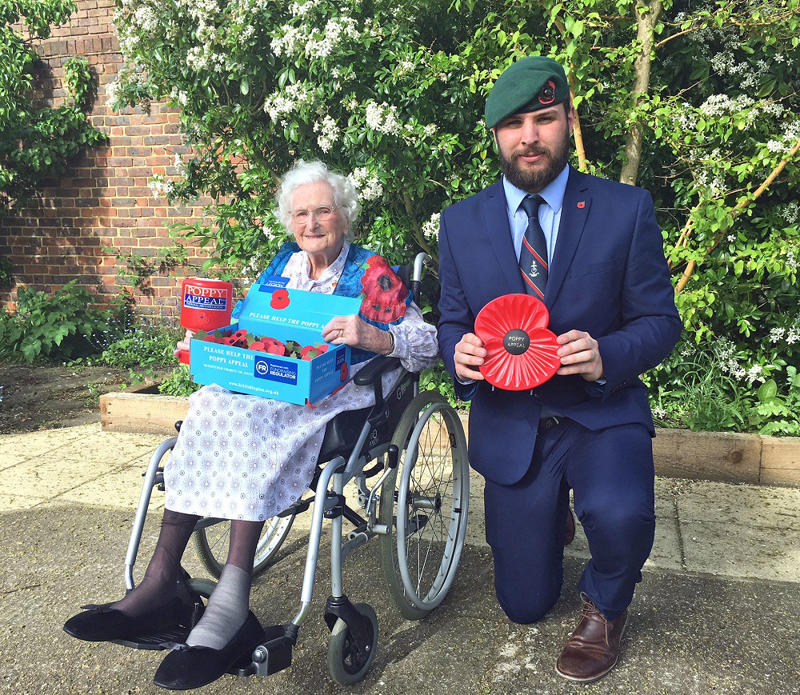 Rosemary Powell and former Royal Marine Nick Fleming, who has benefited from her fundraising