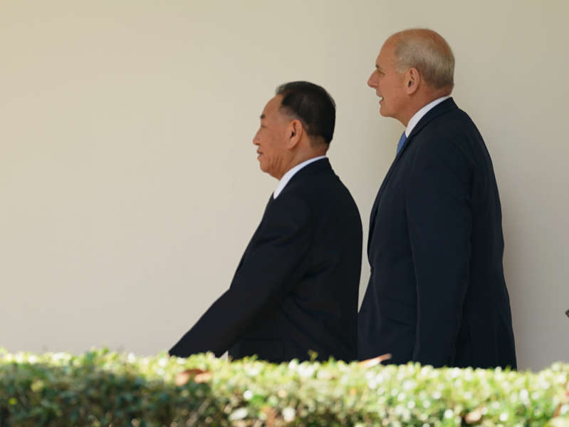 Chief of staff John Kelly walks along the Colonnade toward the Oval Office with Kim Yong Chol, former North Korean military intelligence chief and one of leader Kim Jong Un's closest aides, as he arrives at the White House in Washington on Friday, June 1, 2018.