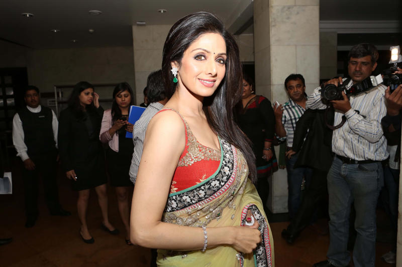 NEW DELHI, INDIA - MARCH 8: Indian Bollywood actor Sridevi Kapoor poses for picture at Grand Hyatt Regency on March 8, 2013 in New Delhi, India. (Photo by Prabhas Roy/Hindustan Times via Getty Images)