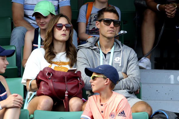 Slide 51 of 75: Alize Cornet of France and her coach/boyfriend Michael Kuzaj during Day Five of the 2018 French Open at Roland Garros on May 31, 2018 in Paris, France. (Photo by Jean Catuffe/Getty Images)