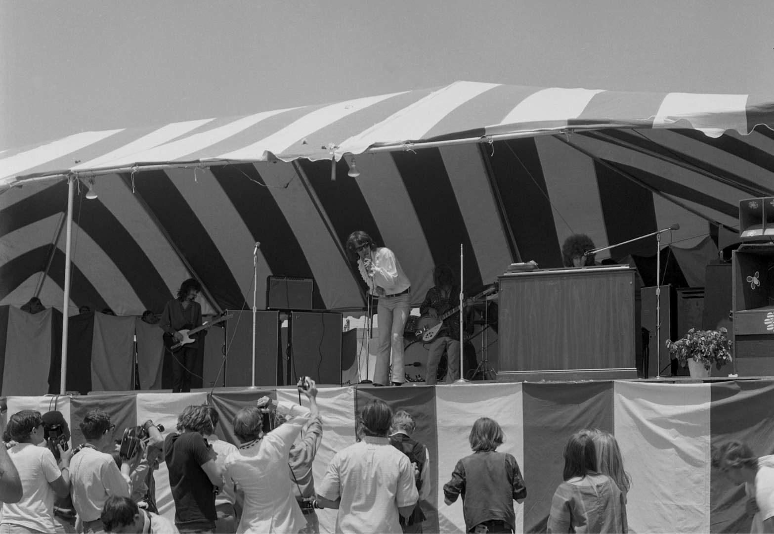 Slide 13 of 45: COSTA MESA - AUGUST 3: Rock and Roll band Steppenwolf (L-R Michael Monarch, John Kay, Rushton Moreve and Goldy McJohn) perform at the Newport Pop Festival on August 3, 1968 in Costa Mesa, California.