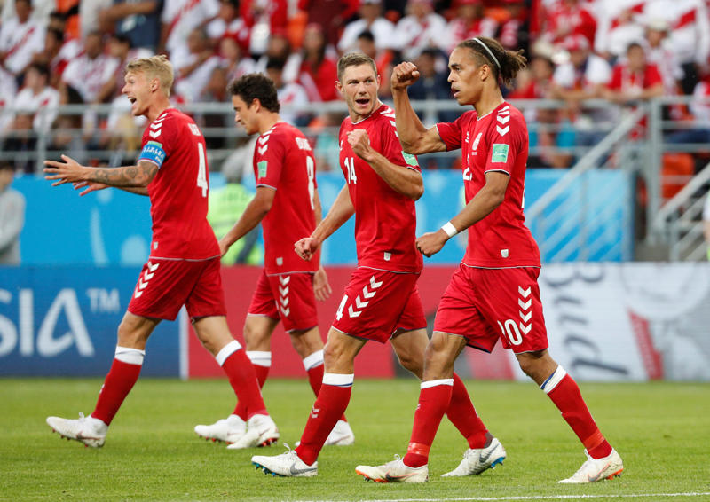Soccer Football - World Cup - Group C - Peru vs Denmark - Mordovia Arena, Saransk, Russia - June 16, 2018   Denmark's Yussuf Poulsen celebrates scoring their first goal with Henrik Dalsgaard and team mates   REUTERS/Max Rossi