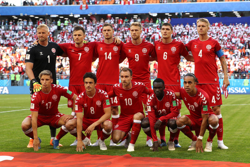 SARANSK, RUSSIA - JUNE 16:  The Denmark team line up ahead of the 2018 FIFA World Cup Russia group C match between Peru and Denmark at Mordovia Arena on June 16, 2018 in Saransk, Russia.  (Photo by Adam Pretty - FIFA/FIFA via Getty Images)