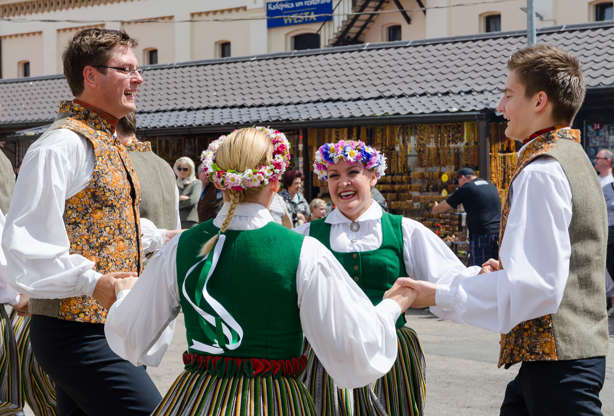 Διαφάνεια 11 από 12: RIGA, LATVIA - JUNE 20, 2015: Group perform latvian traditional folk dance.