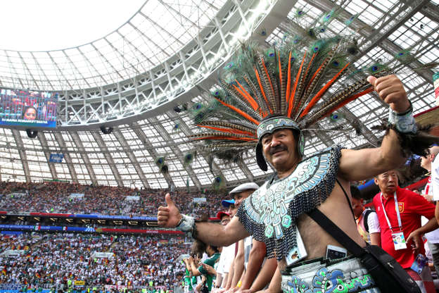 Slide 1 of 36: MOSCOW, RUSSIA - JUNE 17: Fans of Mexico enjoy the pre match atmosphere prior to the 2018 FIFA World Cup Russia group F match between Germany and Mexico at Luzhniki Stadium on June 17, 2018 in Moscow, Russia. (Photo by Alexander Hassenstein/Getty Images)