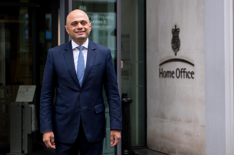 LONDON, ENGLAND - APRIL 30:  Home Secretary Sajid Javid walks out of the Home Office for a brief photo opportunity on April 30, 2018 in London, England. Sajid Javid has been appointed Home Secretary following Amber Rudd's resignation last night amid questions over the handling of immigration and the Windrush generation.  (Photo by Chris J Ratcliffe/Getty Images)
