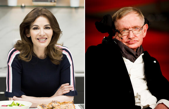 Slide 1 of 49: TORONTO, ON - APRIL 18: Nigella Lawson in the test kitchen with Karon Liu, the Toronto Star's resident food writer, making sesame roasted chicken from her new cookbook At My Table. (Anne-Marie Jackson/Toronto Star via Getty Images); LONDON, ENGLAND - FEBRUARY 08: Stephen Hawking attends the EE British Academy Film Awards at The Royal Opera House on February 8, 2015 in London, England. (Photo by Tristan Fewings/Getty Images)