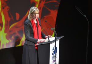 British chef Clare Smyth receives the Best Female Chef award during the World's 50 Best Restaurants awards in Bilbao on June 19, 2018.