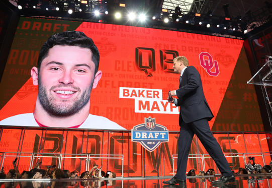 Slide 1 of 32: Oklahoma Sooners quarterback Baker Mayfield was selected number 1 overall by the Cleveland Browns. Mayfield did not attend the draft.