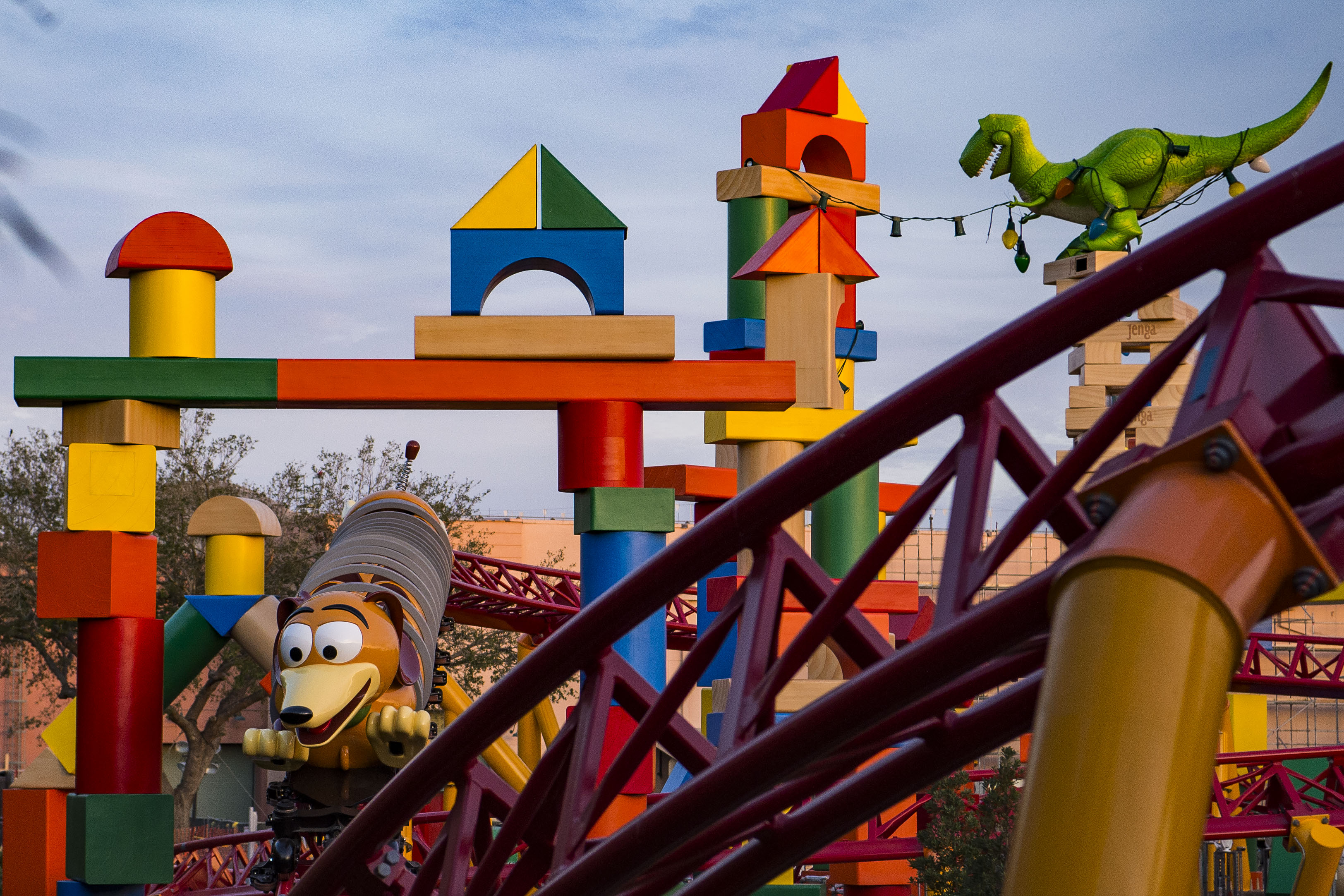 Slide 4 of 15: TOY STORY LAND AT WALT DISNEY WORLD RESORT (LAKE BUENA VISTA, Fla.) ÑToy Story Land at Walt Disney World Resort in Florida opens June 30, 2018. Located at DisneyÕs Hollywood Studios, the new 11-acre Land will make guests feel like they have shrunk to the size of a toy in the setting of AndyÕs backyard. Guests will whoosh along on a family-friendly roller coaster, Slinky Dog Dash (pictured under development), take a spin aboard Alien Swirling Saucers and score high on the midway at Toy Story Mania! (Matt Stroshane, photographer)
