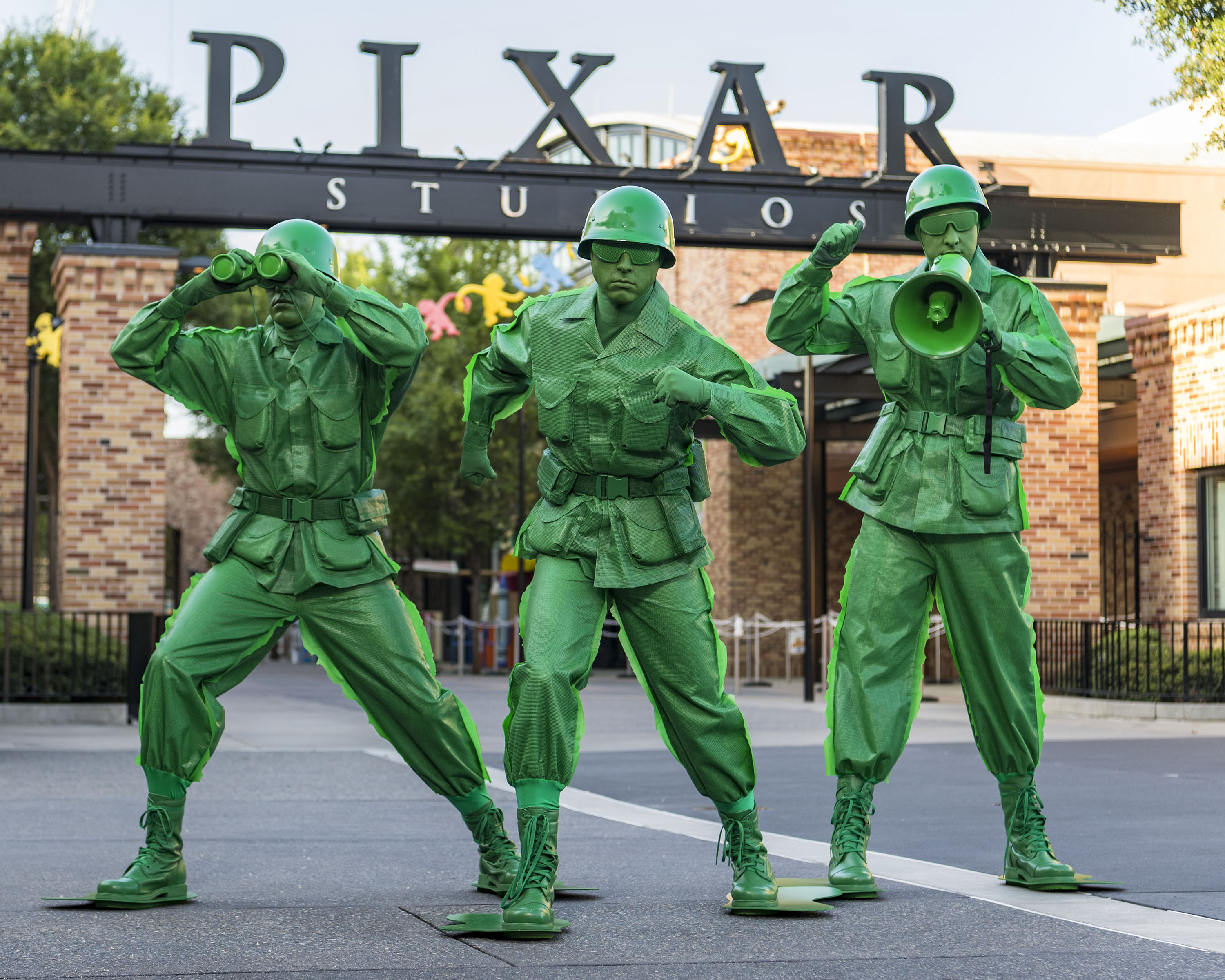 """Slide 7 of 15: Sarge and the Green Army Men from the hit Disney¥Pixar """"Toy Story"""" films will interact with guests in the new Toy Story Land when it opens June 30 at Walt Disney World Resort. The Green Army Men will """"toy"""" with guests, leading them to a fun and interactive boot camp where potential recruits are tested in their abilities with Pixar balls and oversized crayons. Located at Disney's Hollywood Studios, the new 11-acre Toy Story Land will make guests feel like they have shrunk to the size of a toy in the setting of Andy's backyard. Guests will whoosh along on the family-friendly Slinky Dog Dash roller coaster, take a spin aboard Alien Swirling Saucers and score high on the midway at Toy Story Mania! (Matt Stroshane, photographer)"""