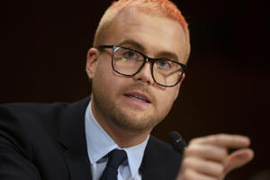 "Christopher Wylie, former Cambridge Analytica research director, testifies before a Senate Judiciary Committee hearing titled, ""Cambridge Analytica and the Future of Data Privacy"" on Capitol Hill in Washington, U.S., May 16, 2018. REUTERS/Al Drago"