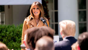 "First lady Melania Trump, accompanied by President Donald Trump, right, speaks on her ""Be Best"" initiative during an event in the Rose Garden of the White House, Monday, May 7, 2018, in Washington. Sixteen months into the president's term, Melania Trump unveils plans for her initiatives to improve the well-being of children. (AP Photo/Andrew Harnik)"