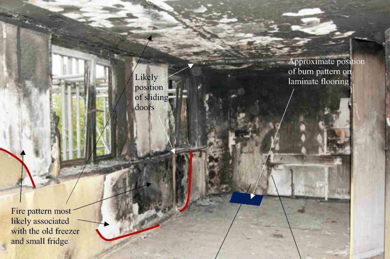 Undated handout photo issued by the Grenfell Tower Inquiry of the kitchen in flat 16 where the fire started on June 14 last year.