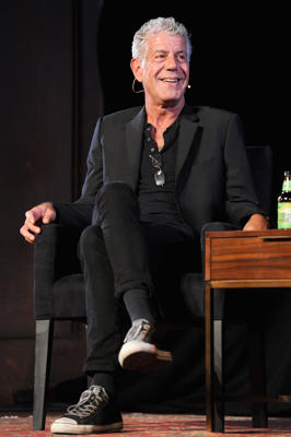 NEW YORK, NY - OCTOBER 07:  Chef Anthony Bourdain speaks onstage during the panel Anthony Bourdain talks with Patrick Radden Keefe at New York Society for Ethical Culture on October 7, 2017 in New York City.  (Photo by Craig Barritt/Getty Images for The New Yorker)
