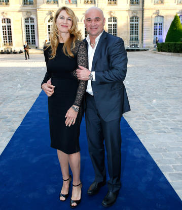 "Slide 47 of 75: Steffie Graf and Andre Agassi attend Longines Steffie Graf Andre Agassi ""10 Years of Partnership For Children"" at Musee Rodin on June 2, 2018 in Paris, France.  (Photo by Rindoff Petroff/Suu/Redferns)"