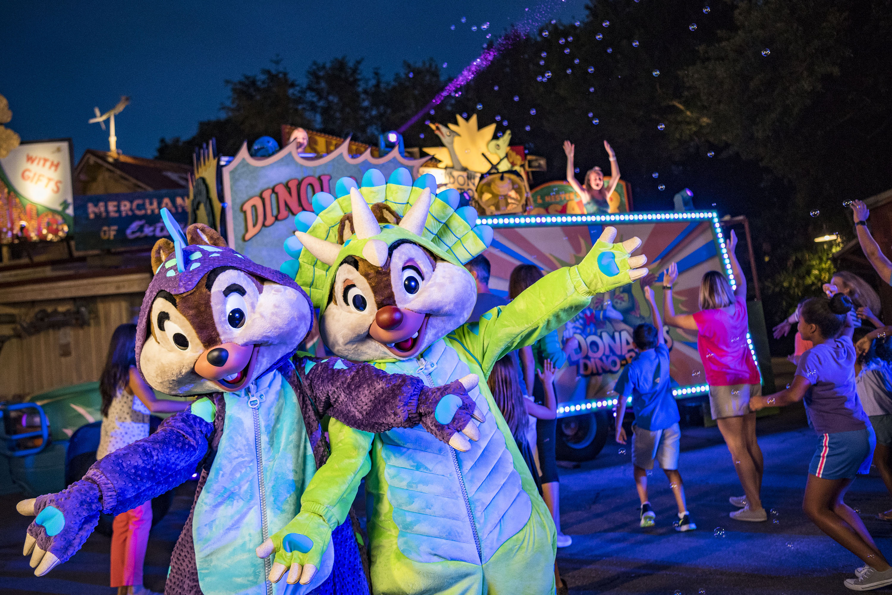 Slide 10 of 15: Every night, Chip and Dale dance the night away with guests during DonaldÕs Dino-Bash!, a lively celebration with festive decor and character greetings galore in DinoLand U.S.A. at DisneyÕs Animal Kingdom. Throughout the day, guests enjoy photo ops and greetings in several locations with feathered friends like Donald, Daisy, Scrooge McDuck and Launchpad McQuack, before the nighttime dance party. ItÕs all part of an Incredible Summer at Walt Disney World Resort. (Matt Stroshane, photographer)