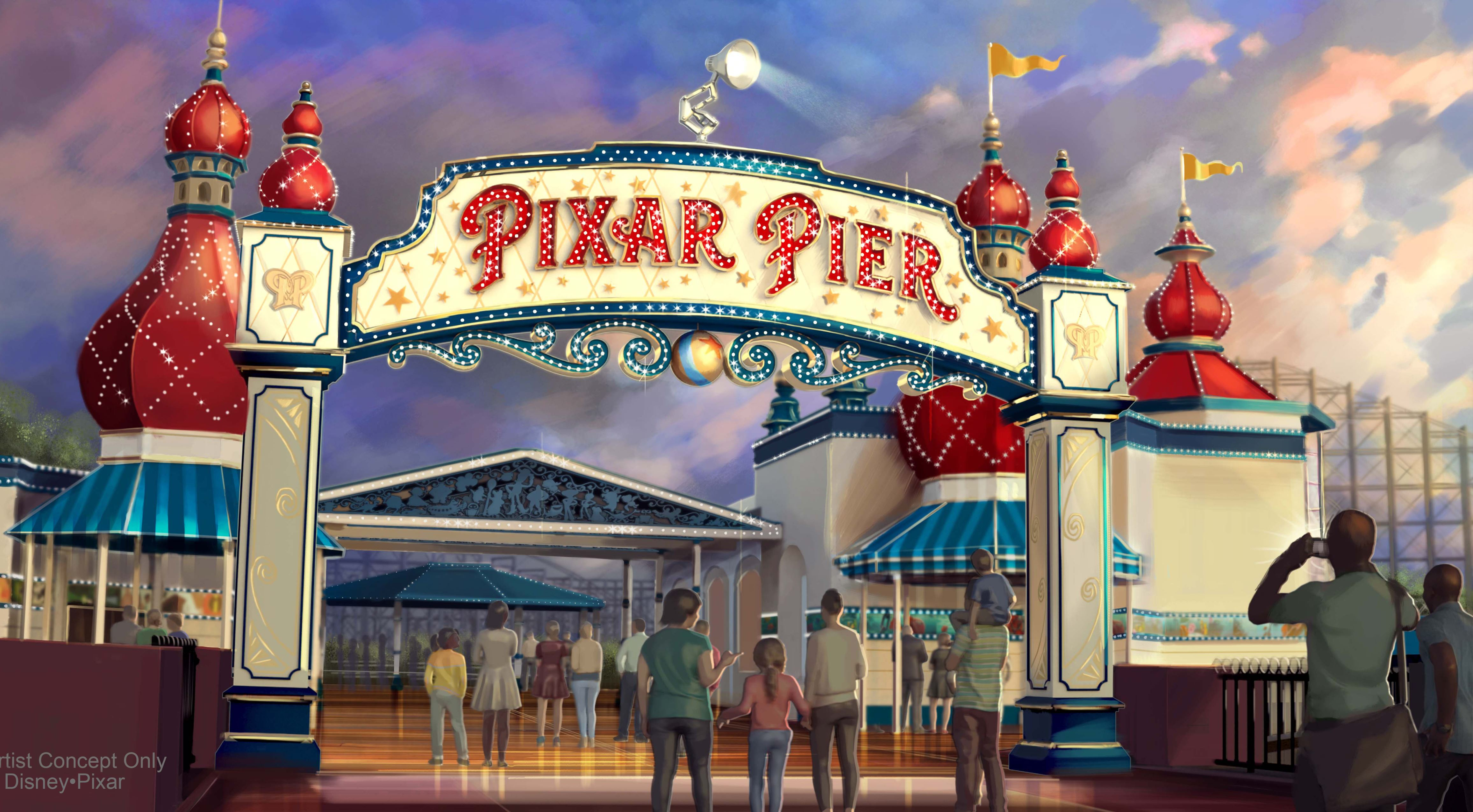 Slide 11 of 15: PIXAR PIER MARQUEE AT DISNEY CALIFORNIA ADVENTURE (ANAHEIM, Calif.) Ð When Pixar Pier opens on June 23 at Disney California Adventure park, guests will enter the permanent new land through a dazzling new Pixar Pier marquee. This reimagined land will feature four whimsical neighborhoods representing beloved Pixar stories with newly themed attractions, foods and merchandise. The Pixar Pier marquee will be topped with the iconic Pixar lamp later in the year. (Disney¥Pixar/Disneyland Resort)