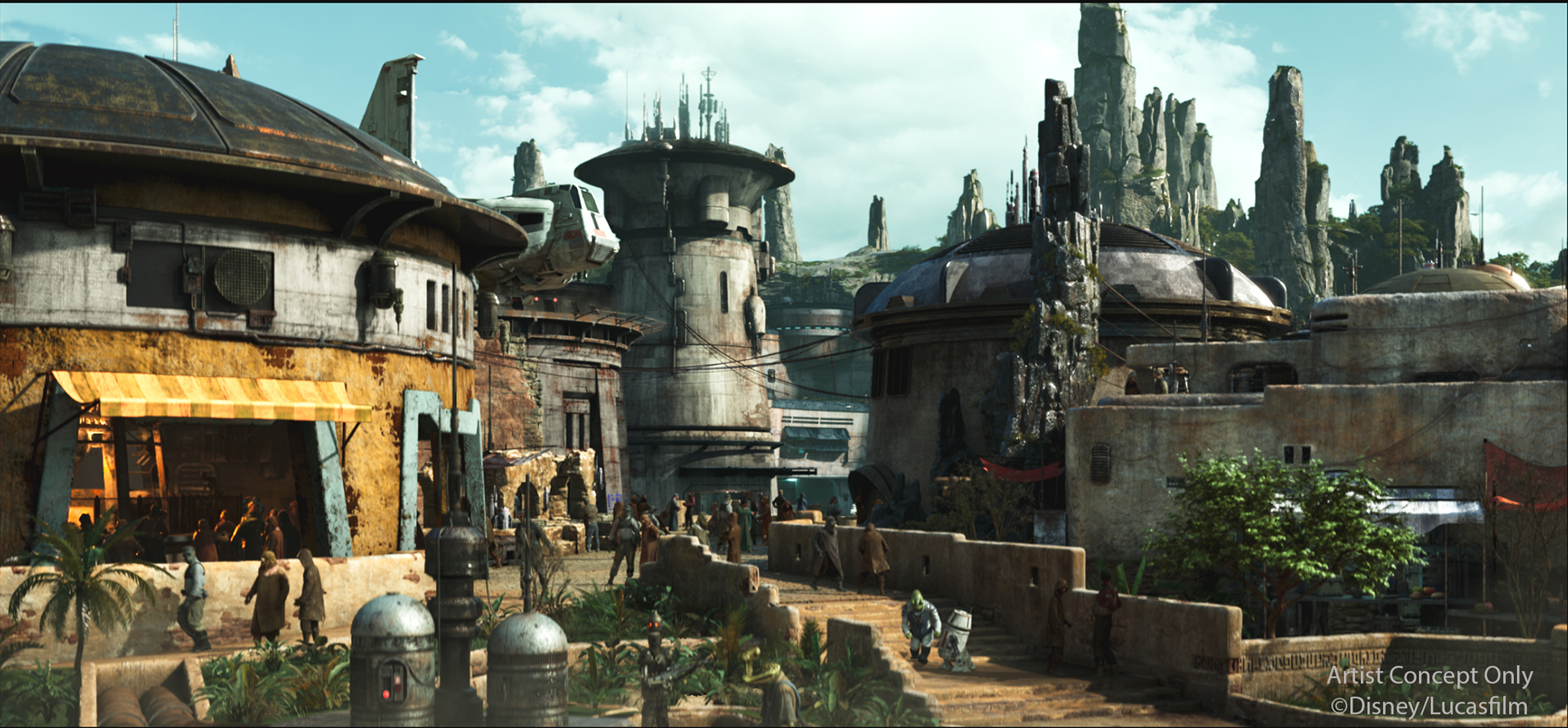 Slide 15 of 15: Black Spire Outpost is the name of the village inside of the upcoming Star Wars: Galaxy's Edge at both Disneyland Resort in California and Walt Disney World Resort in Florida. The village is closely associated with the geological formations that surround it. As the largest settlement on the planet Batuu, Black Spire Outpost is an infamous stop for traders, adventurers, and smugglers traveling around the Outer Rim and Wild Space. Star Wars: Galaxy's Edge will open at Disneyland Resort in summer 2019 and at Walt Disney World Resort in late fall 2019. (Disney)