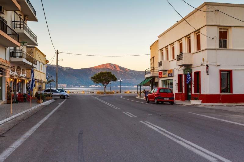 Main street in Lakki village on Leros island in Greece early in the morning.