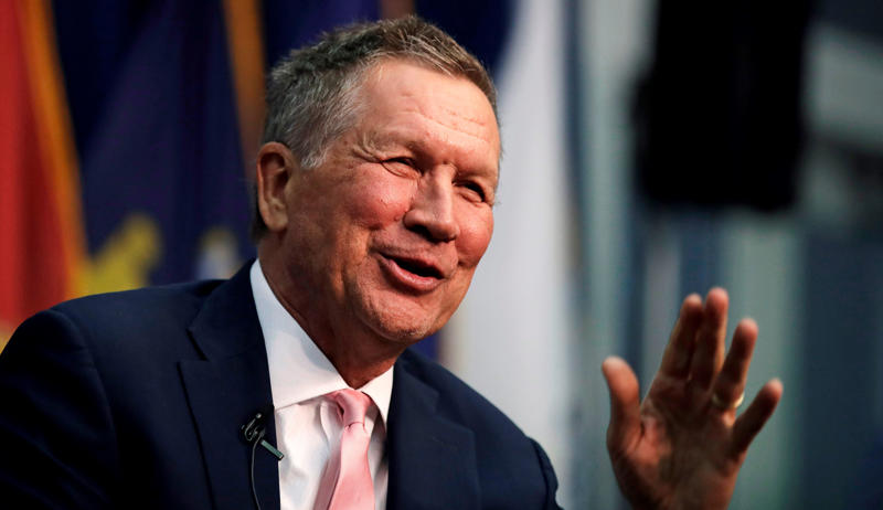 Ohio Gov. John Kasich, a former 2016 Republican Presidential hopeful, smiles as he addresses a gathering during a visit to New England College in Henniker, N.H., Tuesday, April 3, 2018.