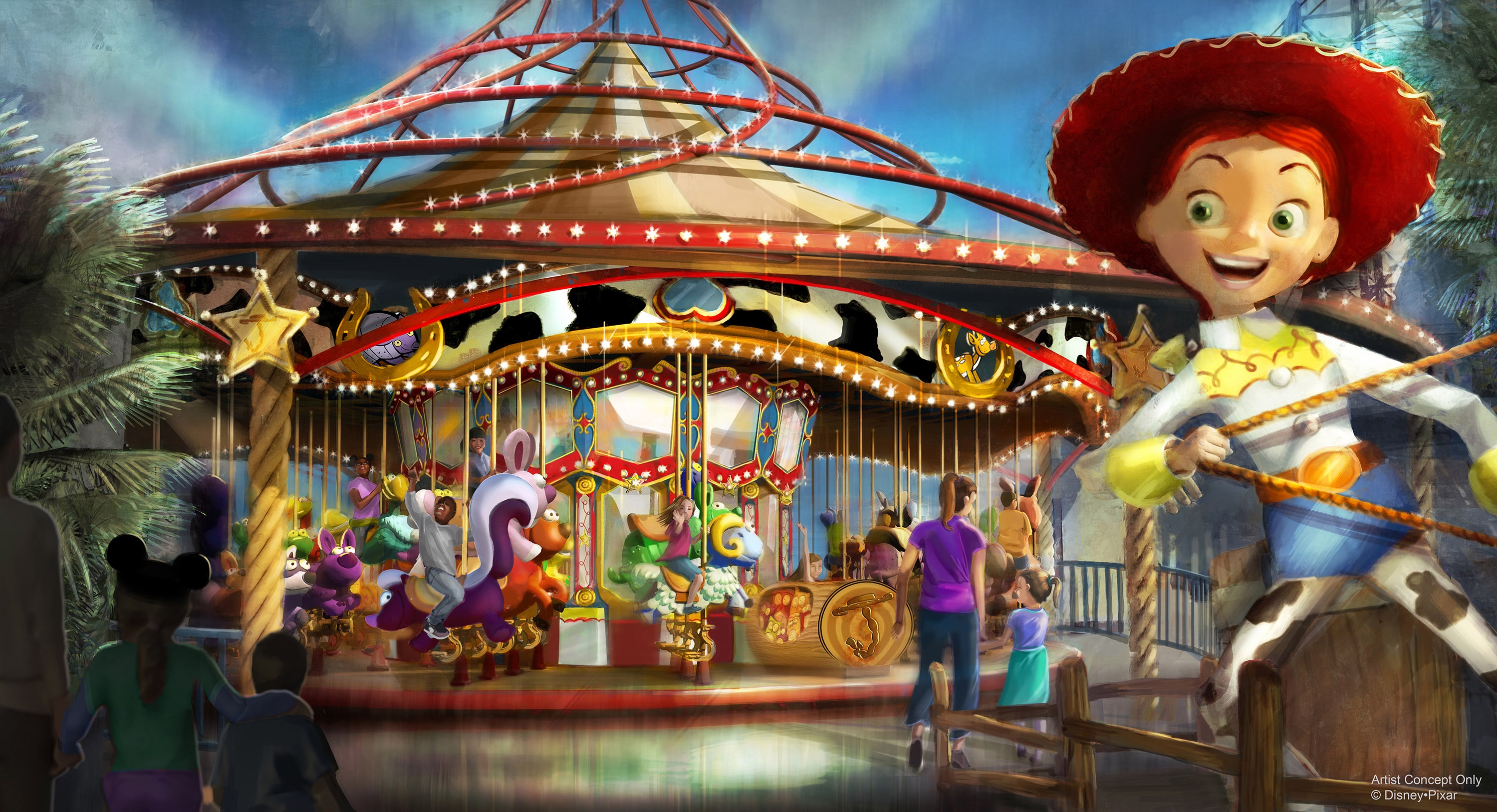 """Slide 14 of 15: JESSIE'S CRITTER CAROUSEL AT PIXAR PIER — Jessie's Critter Carousel, a future attraction coming to Pixar Pier, is inspired by Jessie's wilderness friends featured in Woody's Roundup television show from """"Toy Story 2"""". Jessie's Critter Carousel is a classic boardwalk carousel play set with a whimsical spin from those colorful Pixar characters. As seen in this artist concept, Jessie the Yodeling Cowgirl invites guests to saddle up on one of her adorable critters for a rootin' tootin' spin. Jessie's Critter Carousel will be located in the neighborhood inspired by Disney•Pixar's """"Toy Story."""" (Disney•Pixar)"""